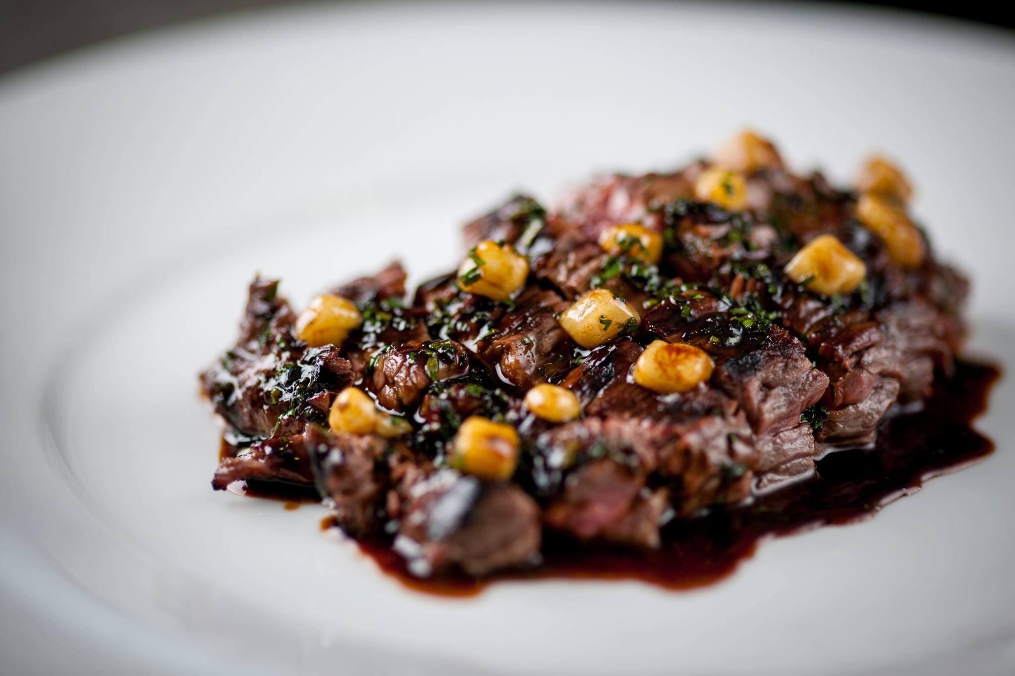Irish Black Angus Flat Iron Steak The Crown marrowbone sauce